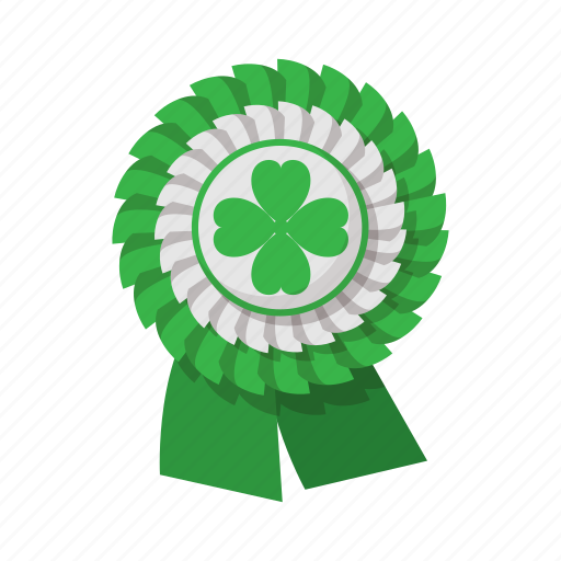 cartoon, clover, four, green, irish, luck, ribbon icon