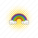 bright, comics, nature, rainbow, red, sky, spectrum icon
