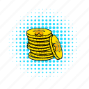 business, coin, comics, gold, money, stack, treasure icon