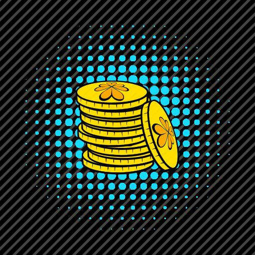 business, coin, comics, gold, money, stack, treasure icon