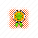badge, clover, comics, four, holiday, irish, leaf icon