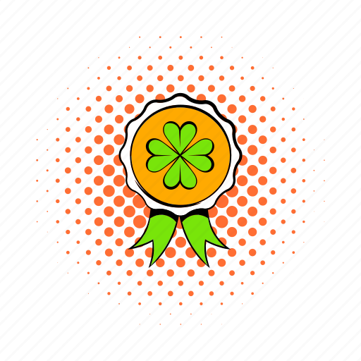 badge, clover, comics, four, holiday, irish, leaf icon
