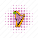 clover, comics, golden, harp, instrument, irish, melody icon