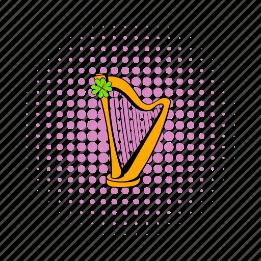 clover, comics, golden, harp, instrument, irish, melody icon
