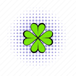 clover, comics, day, four, leaf, natural, shamrock icon