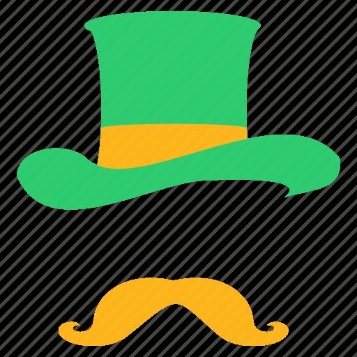 clothing, costume, disguise, hat, leprechaun, moustache, saint patrick's day icon