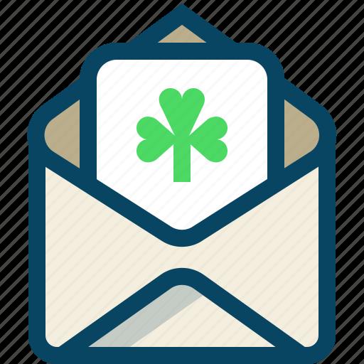 clover, day, mail, message, patricks, trefoil, yumminky icon