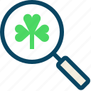 clover, day, lens, magnifier, patricks, trefoil, yumminky icon