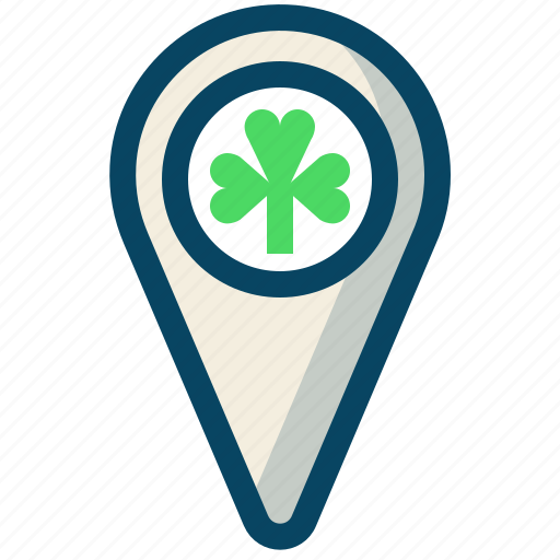 clover, day, location, marker, patricks, trefoil, yumminky icon