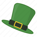green hat, hat, hat with buckle, irish, leprechaun, saint patrick's day icon