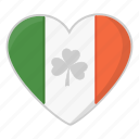 flag, heart, irish flag, saint patrick's day, shamrock icon