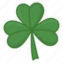 green leaf, irish, luck icon, saint patrick's day, shamrock, three leaves icon