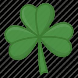 green leaf, irish, luck icon, saint patrick's day, shamrock, three leaves icon