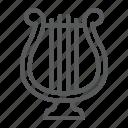 culture, harp, instrument, lyre, music icon