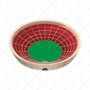 ball, cartoon, field, red, round, sport, stadium icon