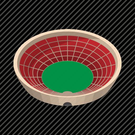 ball, cartoon, field, red, round, sport, stadium icon