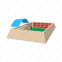 canopy, cartoon, field, football, roof, sport, stadium icon
