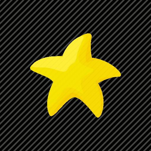 award, bright, cartoon, decoration, gold, shape, starfish icon