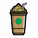 brown, cafe, cappucino, coffee, cream, drink, starbuck icon