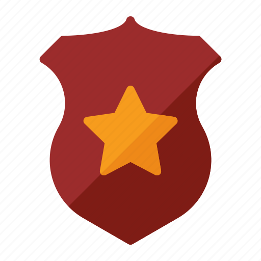 badge, cop, police, star icon