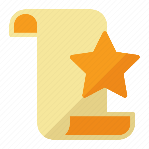 contract, paper, scroll, star icon