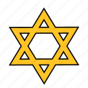 david, jew, jewish, judaism, shape, star, yellow icon