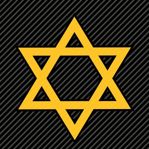 david, jew, jewish, judaism, shape, star, yellow icon