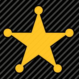 badge, police, shape, sherif, sheriff, star, yellow icon