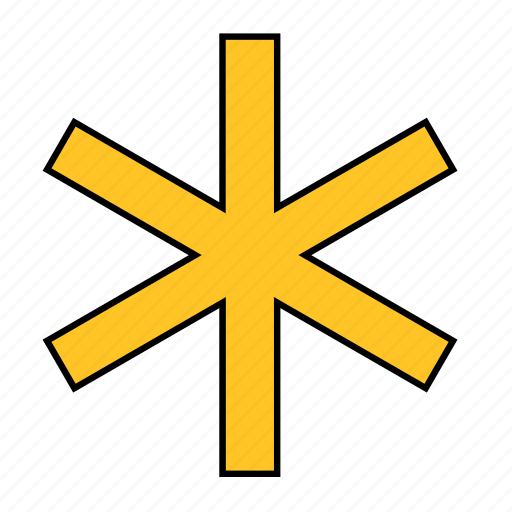 Asterisk, Shape, Snow, Snowflake, Star, Yellow Icon-3590