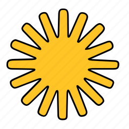abstract, shape, star, sun, yellow icon