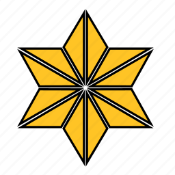 abstract, flower, shape, star, yellow icon