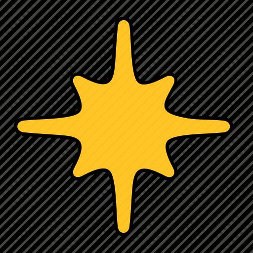abstract, christmas, fir, shape, star, tree, yellow icon