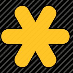 asterisk, shape, snow, snowflake, star, yellow icon