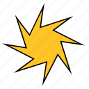 abstract, ninja, shape, spike, spur, star, yellow icon