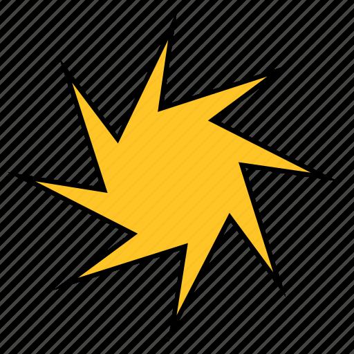 abstract, ninja, shape, spike, spur, star, yellow icon