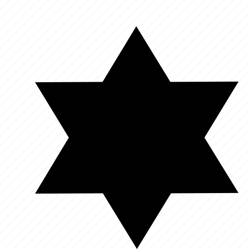 six pointed, six points, star, star of six points icon
