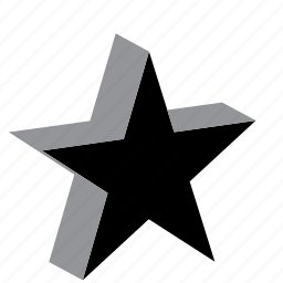 five pointed, five points, relief, star, volume icon