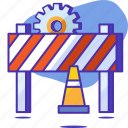 cone, construction, gear, seo, startup, under construction, warning icon