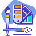 art, brush, color, pen, seo, startup, tools icon