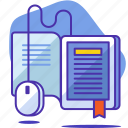 book, bookmark, elearning, learning, mouse, seo, startup icon