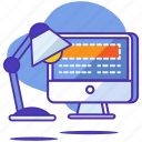 content, design, lamp, layout, monitor, seo, startup icon