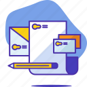 card, identity, letter, mail, pencil, seo, startup icon