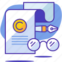 copyright, copyrighting, glasses, pen, seo, startup, writer icon