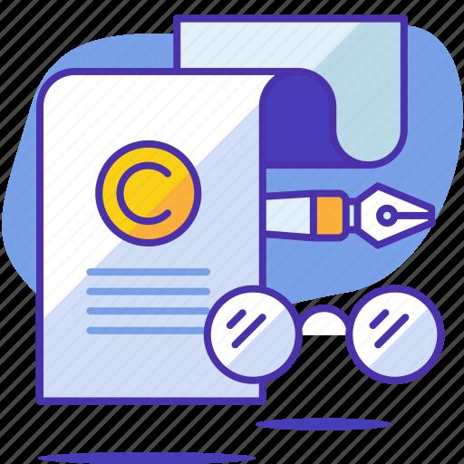 copyright, copyrighting, glasses, pen, seo, startup, writer icon