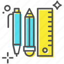 ballpoint, pencil, ruler, scale, stationery icon