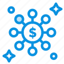 dollar, network, share icon
