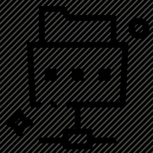 file, folder, network icon