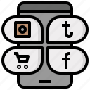 apps, communications, mobile, phone, smartphone, social, text icon
