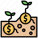 bank, business, currency, growth, investment, money, plant icon
