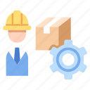 engineer, factory, industry, machine, manager, production, worker icon
